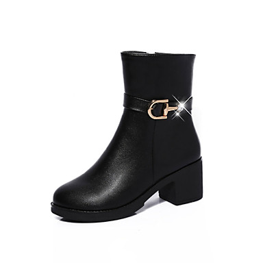 Dame-PU-Flat hæl-Komfort-Støvler-Fritid-Svart