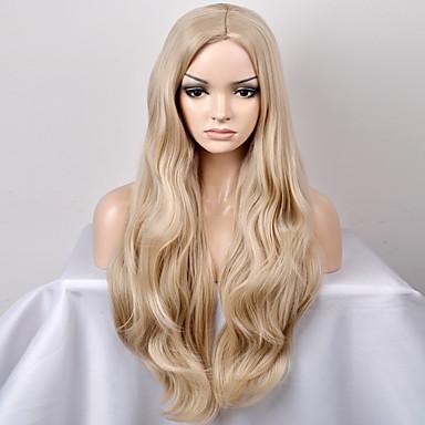 Mujer Pelucas sintéticas Sin Tapa Largo Muy largo Ondulado Natural Blonde Raya en medio Peluca natural Peluca de Halloween Peluca de