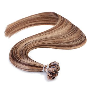 Neitsi Queratina / Punta en U Extensiones de cabello humano Recto Extensiones Naturales Cabello humano Mujer