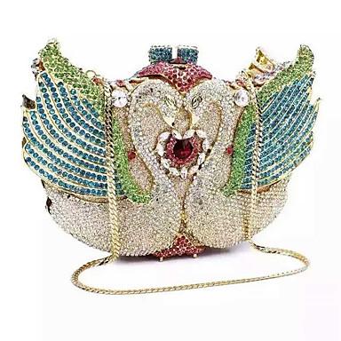 Mulheres Bolsas PU / Metal Bolsa de Mão Cristal / Strass Dourado / Prata / Azul Claro / Rhinestone Crystal Evening Bags
