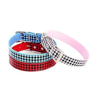 ネコ 犬 カラー 調整可能 / 引き込み式 ハート ラインストーン ノベルティ柄 PUレザー レッド ブルー ピンク