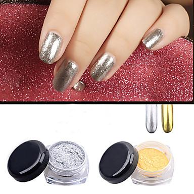 2pcs gold silver chrome mirror powder dust pigment magic aluminum ...