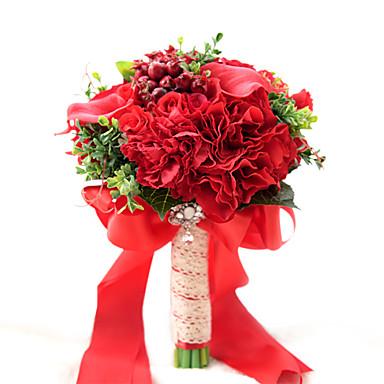 Bouquets de Noiva Buquês Casamento Festa / Noite Tafetá Elastano Flôr Seca Miçangas Renda Poliéster Cetim 11.02