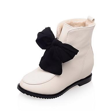 Dame-PU-Lav hæl-Komfort-Støvler-Kontor og arbeid Formell Fritid-Rød Beige