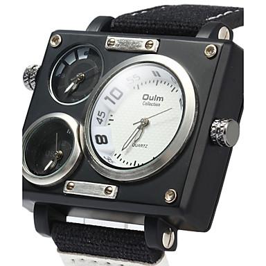 b825780140a Homens Relógio Esportivo Relógio Militar Relógio de Pulso Quartzo Preta    Branco   Marrom Calendário Dois Fusos Horários Legal Analógico Luxo  Clássico ...