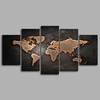 billige Trykk-Trykk Valset lerretskunst - Kart Moderne Fem Paneler Kunsttrykk