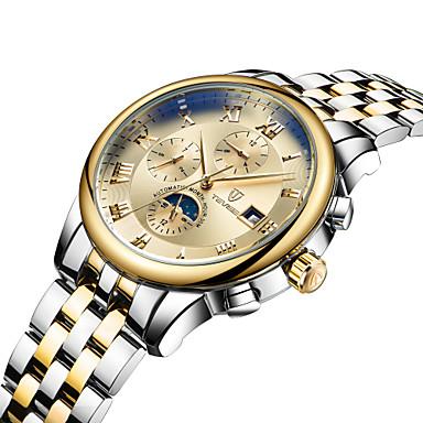 baratos Relógios Homem-Tevise Homens Mulheres Casal Relógio Esportivo Relógio de Moda Relógio Esqueleto Quartzo Automático - da corda automáticamente Aço Inoxidável Preta / Marrom 30 m Impermeável Calendário Luminoso