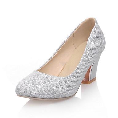 للمرأة أحذية مواد متخصصة ربيع / صيف مريح كعوب كعب متوسط / منصة أمام الحذاء على شكل دائري عقدة فضي / أرجواني / اللوز / زفاف / فستان
