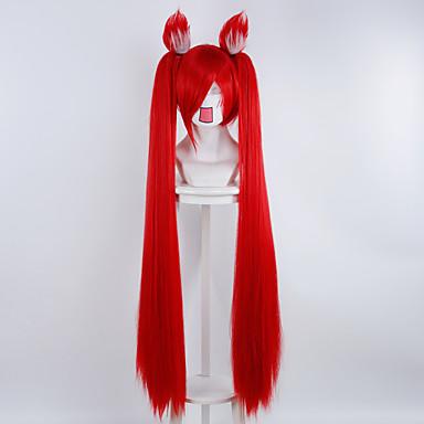 Syntetiske parykker / Kostymeparykker Rett Syntetisk hår Rød Parykk Dame Kort / Medium Lengde / Lang Lokkløs Rød