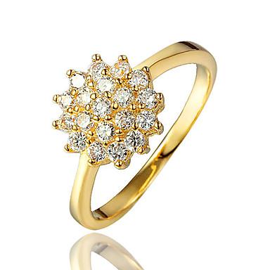 女性用 キュービックジルコニア 指輪 - ゴールドメッキ, 18Kゴールドメッキ ゴールド