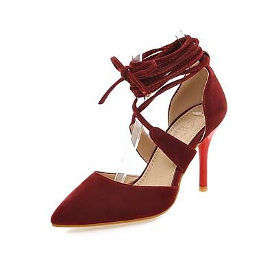 Mulheres Sapatos Flanelado Primavera / Verão Conforto / Tira no Tornozelo Saltos Caminhada Salto Agulha Dedo Apontado Cadarço Preto /