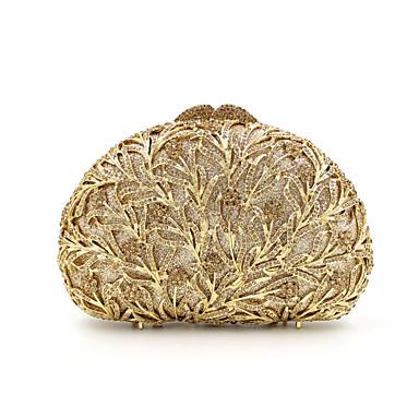 baratos Super Ofertas-Mulheres Cristal / Strass Metal Bolsa de Festa Rhinestone Crystal Evening Bags Floral Prata / Vermelho / Dourado