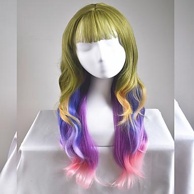 人工毛ウィッグ ナチュラルウェーブ 合成 ブラウン かつら 女性用 ロング / 非常に長いです キャップレス