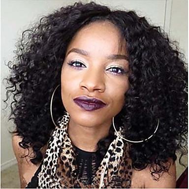 Cabelo Humano Frente de Malha Peruca Kinky Curly Densidade 100% Feita a Mão Peruca Afro Americanas Riscas Naturais Curto Médio Longo