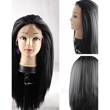 Syntetiske parykker Rett Yaki Svart Blonde Forside Lokkløs Karneval Parykk Halloween parykk Naturlig parykk Syntetisk hår
