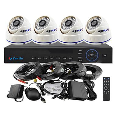 yanse® 4ch 960H CCTV DVR комплект ИК цвета купол камеры системы безопасности камеры 1000tvl 808cf04