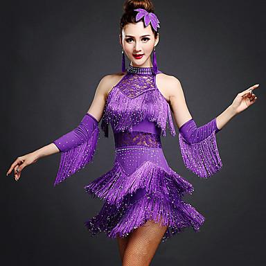 Latin Dans Kjoler Dame Trening Rayon Spandex Perlearbeid Blonder Dusk Ermeløs Naturlig Kjole Armbånd