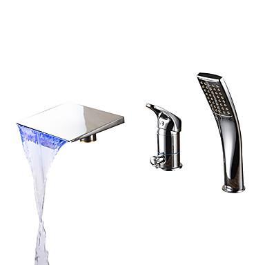 コンテンポラリー ローマンバスタブ 滝状吐水タイプ ハンドシャワーは含まれている LED セラミックバルブ 三つ シングルハンドル三穴 クロム, 浴槽用水栓
