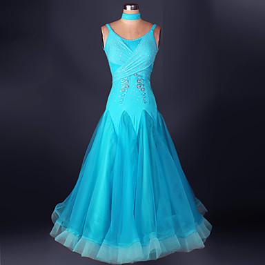 Baile de Salón Vestidos Rendimiento Licra / Organza Recogido / Encaje Sin Mangas Cintura Alta Vestido