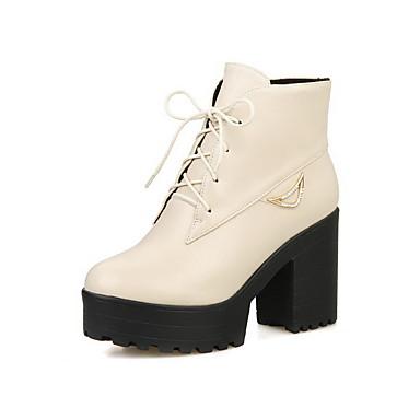 Dame-PU-Tykk hæl-Komfort-Støvler-Kontor og arbeid Formell Fritid-Svart Rød Hvit Beige