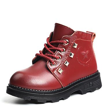 女の子 靴 レザー コンフォートシューズ コンバットブーツ ブーツ ウォーキング フラットヒール 用途 カジュアル ブラック Brown バーガンディー