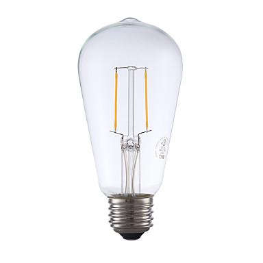 E26 フィラメントタイプLED電球 ST19 2 LEDの COB 調光可能 装飾用 温白色 220lm 2700K AC 110-130V