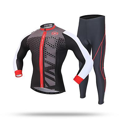 XINTOWN 男性用 長袖 タイツ付きサイクリングジャージー - ブラック バイク ジャージー パンツ 洋服セット, 3Dパッド, 保温, モイスチャーコントロール, 反射性ストリップ ポリエステル スパンデックス クールマックス ライクラ