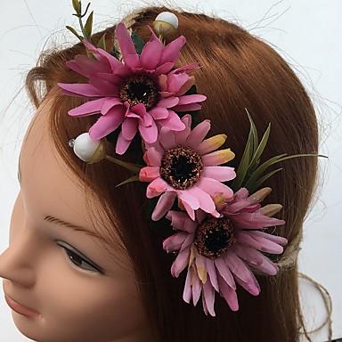 シフォン亜麻のヘッドバンド花の髪のネクタイヘッドピースのエレガントなスタイル