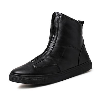 Homens sapatos Courino Inverno Outono Conforto Botas Caminhada Botas Cano Médio Ziper para Casual Dourado Branco Preto