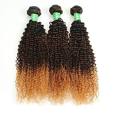 人毛 ブラジリアンヘア オンブル' カーリー カールつけ毛 ヘアエクステンション 3個 ブラック/ミディアムBrown /ストロベリーブロンド
