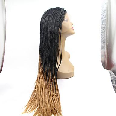 Χαμηλού Κόστους Συνθετικές περούκες με δαντέλα-Συνθετικές μπροστινές περούκες δαντέλας Ίσιο Στυλ Δαντέλα Μπροστά Περούκα Μαύρο Μαύρο / Φράουλα Ξανθιά Συνθετικά μαλλιά Γυναικεία Φυσική γραμμή των μαλλιών / Περούκα κοτσιδάκια / Αφρικανικά κοτσιδάκια
