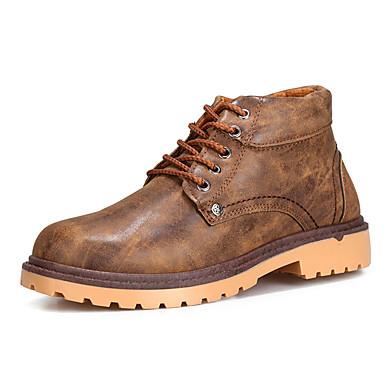 Herre-PU-Lav hæl-Komfort-Støvler-Fritid-Svart Blå Brun