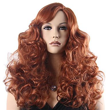 Synteettiset hiukset Peruukit Laineita Carnival Peruukki Halloween Peruukki Cosplay-peruukki Pitkä Ruskea