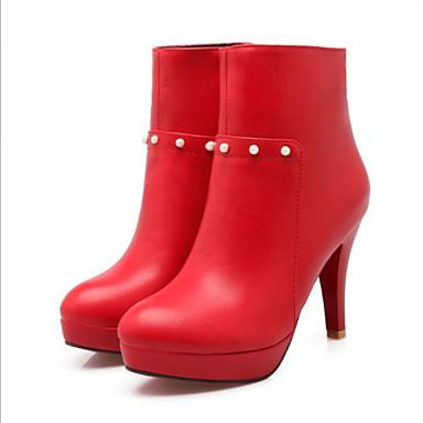 Dame-PU-Stiletthæl-Komfort-Støvler-Fritid-Svart Rød
