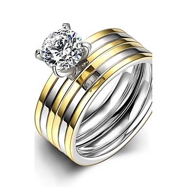 女性用 指輪 婚約指輪 ファッション ダブルレイヤー ステンレス鋼 ジルコン キュービックジルコニア ジュエリー 結婚式 パーティー 日常 カジュアル スポーツ