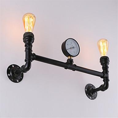 خمر الأنابيب الصناعية أضواء الجدار الأسود أضواء الإبداعية مطعم مقهى بار الجدار الشمعدانات 2-فاتح اللون إنهاء