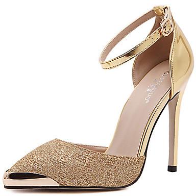女性-ドレスシューズ カジュアル パーティー-レザー-スティレットヒール-コンフォートシューズ クラブシューズ 靴を点灯-ヒール-シルバー ゴールド