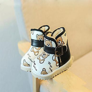 Jenter Baby-PU-Flat hæl-Komfort-Støvler-Fritid-Svart Blå Hvit