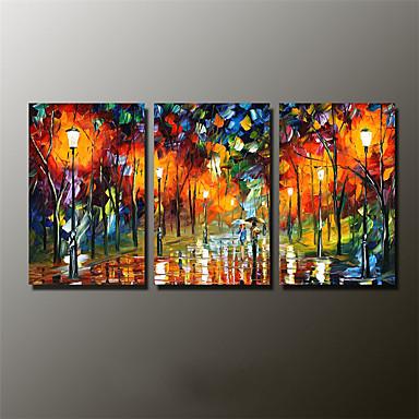 Håndmalte Landskap / Abstrakte Landskap olje malerier,Moderne Tre Paneler Lerret Hang malte oljemaleri For Hjem