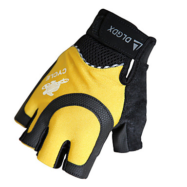 billige Sykkelhansker-Sykkelhansker Pustende Anti-Skli Svettereduserende Beskyttende Halv Finger Aktivitets- / Sportshansker Net Terry Cloth Fjellsykling Gul / Svart til Voksne Utendørs