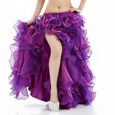 Dança do Ventre Tutos e Saias Mulheres Espetáculo Elastano Fenda Frontal Sem Manga Caído Saia