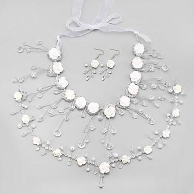 ブライダルジュエリーセット クリスタル 人造真珠 タッセル ホワイト ネックレス イヤリング・ピアス 髪飾り のために 結婚式 1セット ウェディングギフト