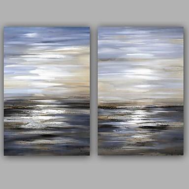 Maalattu Abstrakti Pysty,Klassinen Moderni Kanvas Hang-Painted öljymaalaus Kodinsisustus 2 paneeli