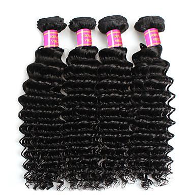 4 csomópont Perui haj Mély hullám Kémiai anyagoktól mentes / nyers Emberi haj sző Human Hair Extensions