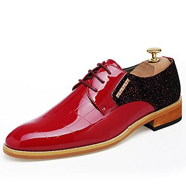 Miehet kengät PU Kevät Syksy Comfort Oxford-kengät Solmittavat Käyttötarkoitus Kausaliteetti Musta Punainen