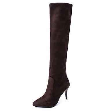 Dame Støvler Komfort Kashmir Vinter Avslappet Gange Komfort Kombinasjon Stiletthæl Svart Grå Mørkebrun 5 - 7 cm