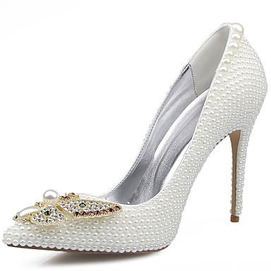 Mujer Zapatos Cuero Primavera / Verano Confort Tacones Paseo Tacón Stiletto Dedo Puntiagudo Cristal / Pajarita / Perla Blanco / Boda