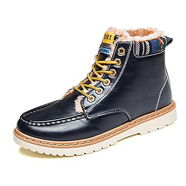 Miehet Bootsit Comfort PU Syksy Talvi Kausaliteetti Comfort Solmittavat Tasapohja Musta Punainen Sininen Tasapohja