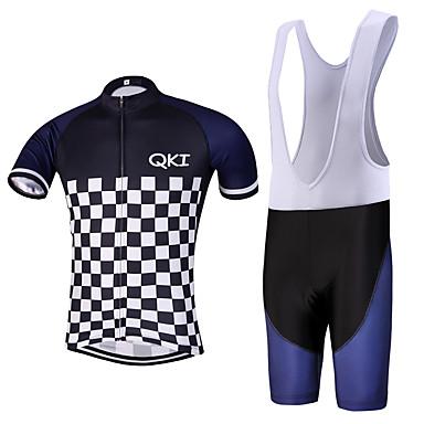QKI® Sykkeljersey med bib-shorts Herre Kort Erme SykkelPustende Fort Tørring Anatomisk design Forside Glidelås Svettereduserende