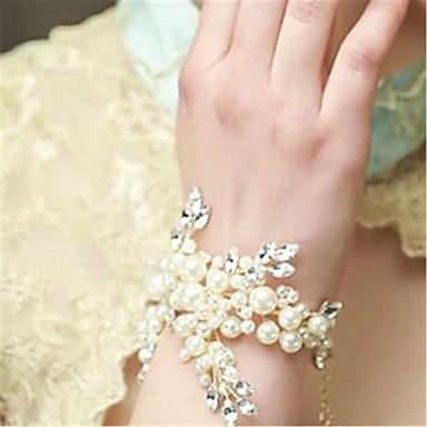 女性用 チェーン&リンクブレスレット クリスタル 手作り 真珠 人造真珠 ラインストーン ジュエリー 結婚式 婚約 コスチュームジュエリー